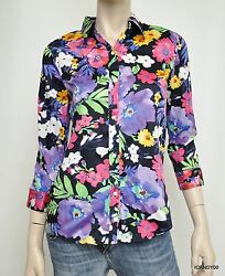 Nwt 89 3/4 Sleeve Button Front Shirt Top Blouse Navy/floral M-pt