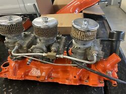 348 Chevy Tri Power. Can Be Made To Fit 409. Rebuilt Carbs -running And Sorted