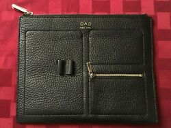 OAD New York Zip Clutch Black Pebble Genuine Leather Gold Hardware  $47.00