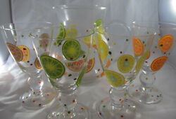 Retro Blown Crystal Pitcher And 4 Goblets With Lemons Limes Orange Slices