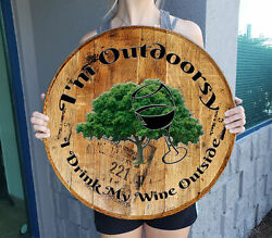 I'm Outdoorsy Funny Wine Outside Bar Sign Gift Whiskey Barrel Home Decor