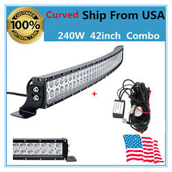 Wiring Kit+curved 42'' 240w Led Light Bar Combo Slim Trailer Ford Boat Ship Us