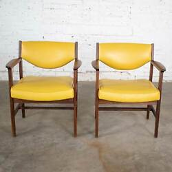Pair Armchairs Mid Century Modern Gold Faux Leather And Walnut By Madison Furnitur