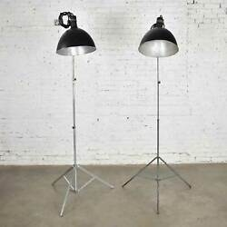 Two Vintage Industrial Pair Of Photographers Floor Lights Tripod Base Aluminum A