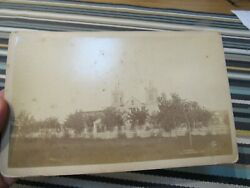 Antique 1890 Cabinet Card Photo Of Cathedral In Albuquerque,new Mexico Nm