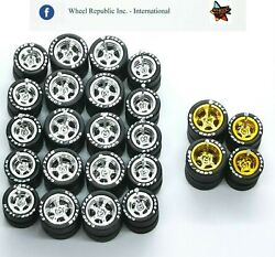 Hot Wheels Good Year Rubber Tires 12 Sets 5 Spoke 12/10 Mm Chrome + Gold