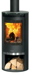 5kw Wood Burning Stove With Glass Top And Log Store - High Quality German Built