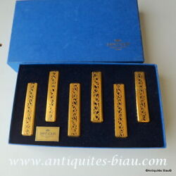 6 Knife Holder In Crystal Saint - Louis Thistle Gold Perfect Condition With Box
