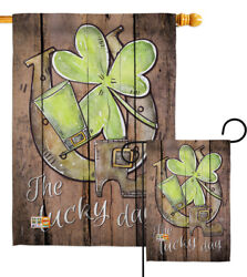 St. Pat's The Lucky Day Garden Flag Spring Decorative Gift Yard House Banner