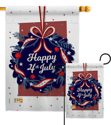 Happy 4th Of July Garden Flag Patriotic Fourth Decorative Gift Yard House Banner