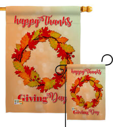 Thanksgiving Day Wreath Garden Flag Fall Small Decorative Gift Yard House Banner