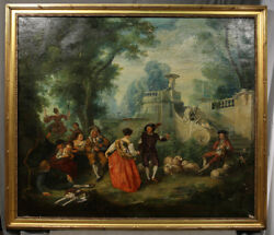Antique Large Painting Court Yard Scene Jean Antoine Watteau Rococo Style