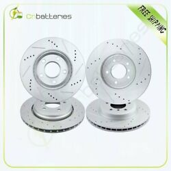 Front And Rear Drilled And Slotted Brake Rotors Fits 2000 2001 2002 - 2007 Bmw 330