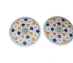 30 Set Of 2 Pcs Marble Coffee End Table Top Semi Precious Stones Inlay Work