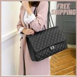 Jollque Quilted Women#x27;s Clutch Handbags Leather Travel Bag Female Large Shoulder $46.00
