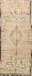 Antique Muted Vegetable Dye Moroccan Distressed Handmade Oriental Area Rug 5x11