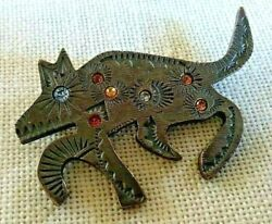 Vintage Signed Patricia Locke For Paws '93 Pewter And Rhinestones Dog Wolf Pin