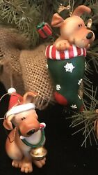 """Beagle Puppies Dogs Christmas Ornaments. 4"""" Vintage"""