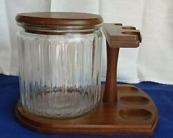 Vintage Decatur Industries Walnut Wood Pipe Holder Stand W/ Humidor