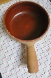 Vintage Cheese Fondu. French Vallauris Antigue Red Clay Bowl F. Cassulet