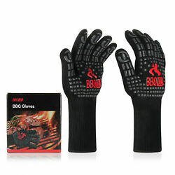 Bbq Oven Mitts Gloves Kitchen Cooking Heat Resistant Insulated Non-slip Silicone