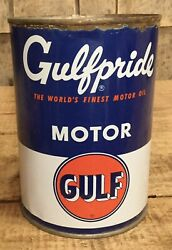 Vintage Nos 1 Qt Gulf Gulfpride Motor Oil Tin Can Unopened W Content