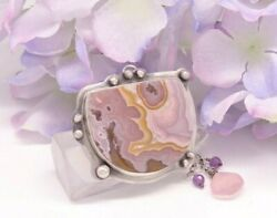Sterling Agua Nueva Agate With Lavender Chalcedony And Amethyst By Willowmetals