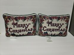 2 Decorative Christmas Tapestry Pillows Merry Christmas