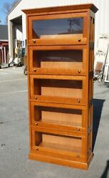 Stunning Solid Cherry Barrister Bookcase - Raised Panel - 5 Section