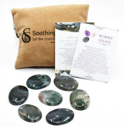 5 Pcs Kit Natural Moss Agate Thumb Worry Stone W/ Pouch And Crystal Info Cards