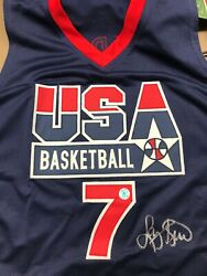 Larry Bird 2x Signed Olympic Dream Team Jersey Bird Hologram Front And Back
