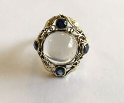 Antique Arts And Crafts 14k Moonstone And Sapphire Ring