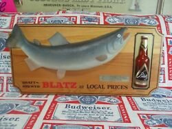 Antique Vtg 60s Blatz Beer 3-d Coho Salmon Trout Fish In Motion Fishing Bar Sign