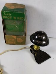 Vtg Sparkle Vuette Book N Bed Clip On Light Lamp W Clip-on Metal Shade + Box