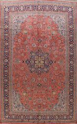 Vintage Traditional Vegetable Dye Floral Area Rug Hand-knotted Wool Carpet 10x13
