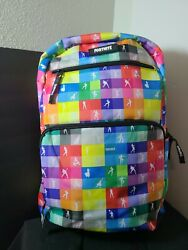 Fortnite Nwt All Over Multicolor Print Galaxy Gamer School Double Strap Backpack
