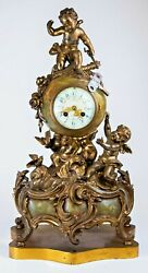 Antique Vincent And Cie French Gilt Dore Bronze Cherub And Onyx Orb Mantle Clock