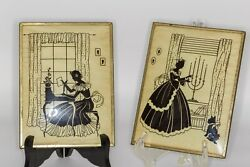 Pair Of Antique Convex Reverse Painted Glass Silhouette Paintings