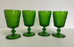 Four 4 Duncan And Miller Green Water Goblets 5 1/2 Sandwich Glass