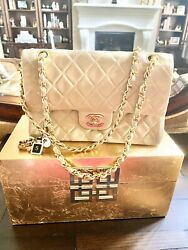 Chanel Bag Vintage Classic Double Flap Small Beige Quilted Lambskin CC $2650.00