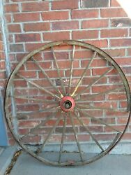 Two Antique Wooden Buggy Wagon Wheels With Iron Rims And Hubs.