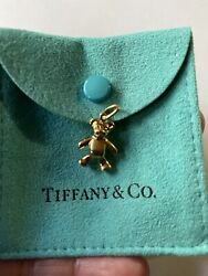 100rare Authentic And Co 18k Gold Teddy Bear Charm Necklace