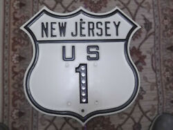 New Jersey Embossed Road Sign / Shield. Glass-marble Reflectors. Highway Us 1