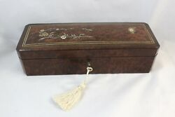Napoleon Iii French Antique Glove Box, Mother Of Pearl, Silver Inlays, Elegant