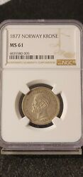 Norway 1877 Silver Krone Ngc Ms61 Pretty Coin