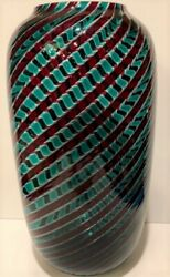 Vintage Venini Murano Italian Art Glass Vase Green And Red Twisted Canes Signed