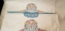 Pair Of Vintage Southern Belle Crocheted / Embroidered Pillowcases