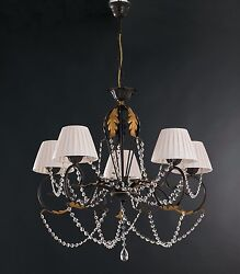 Hanging Chandelier Lamp Classic Wrought Iron Lamp Shades Leaves Crystal Gem