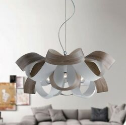 Hanging Modern Chandelier Effect Wood Chrome Circles Colours