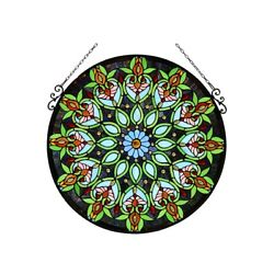 Window Panel 26 Round Victorian Floral Design Style Stained Glass